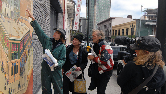 Muralist Mona Caron, Tenderloin resident Lisa Demb, Director Paige Bierma. Photo by Tom Pendergast