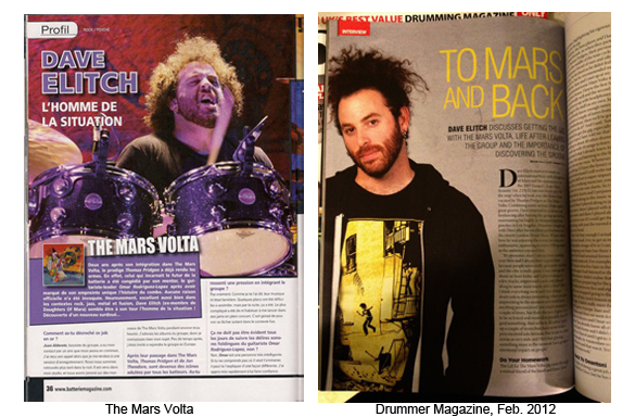 David Elitch Press: The Mars Volta &amp; Drummer Magazine, Feb. 2012