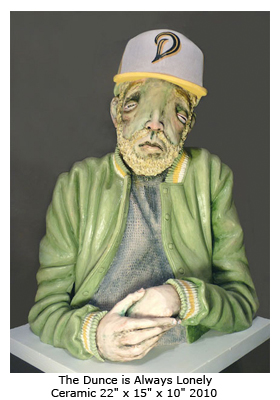 Derek Weisberg Ceramic Sculpture: The Dunce is Always Lonely