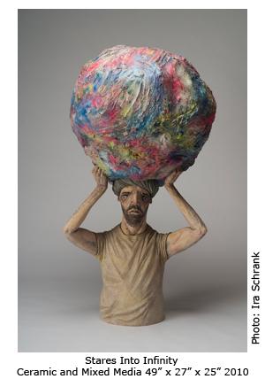 Derek Weisberg Ceramic Sculpture: Stares into Infinity