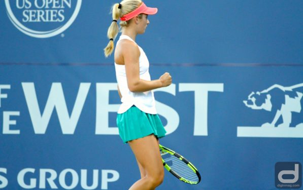 CiCi Bellis celebrates a point at Bank of The West Classic