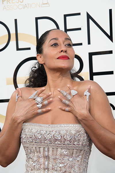 Hollywood Foreign Press Association | Tracee Ellis Ross on the Golden Globes red carpet wearing L'Dezen Jewelry