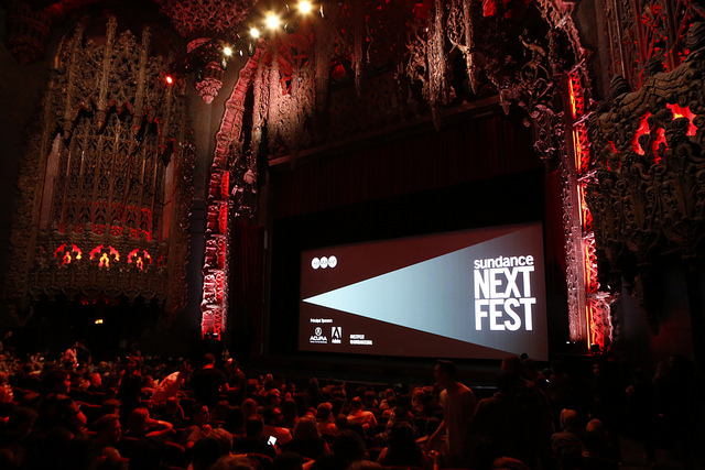 Inside the Theatre at Ace Hotel at Sundance NEXT FEST After Dark. (c) 2017 Sundance Institute | Photo by Nick Sammons.