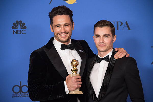 75th Golden Globe Awards: The Disaster Artist | Winner James Franco with co-star and brother Dave Franco