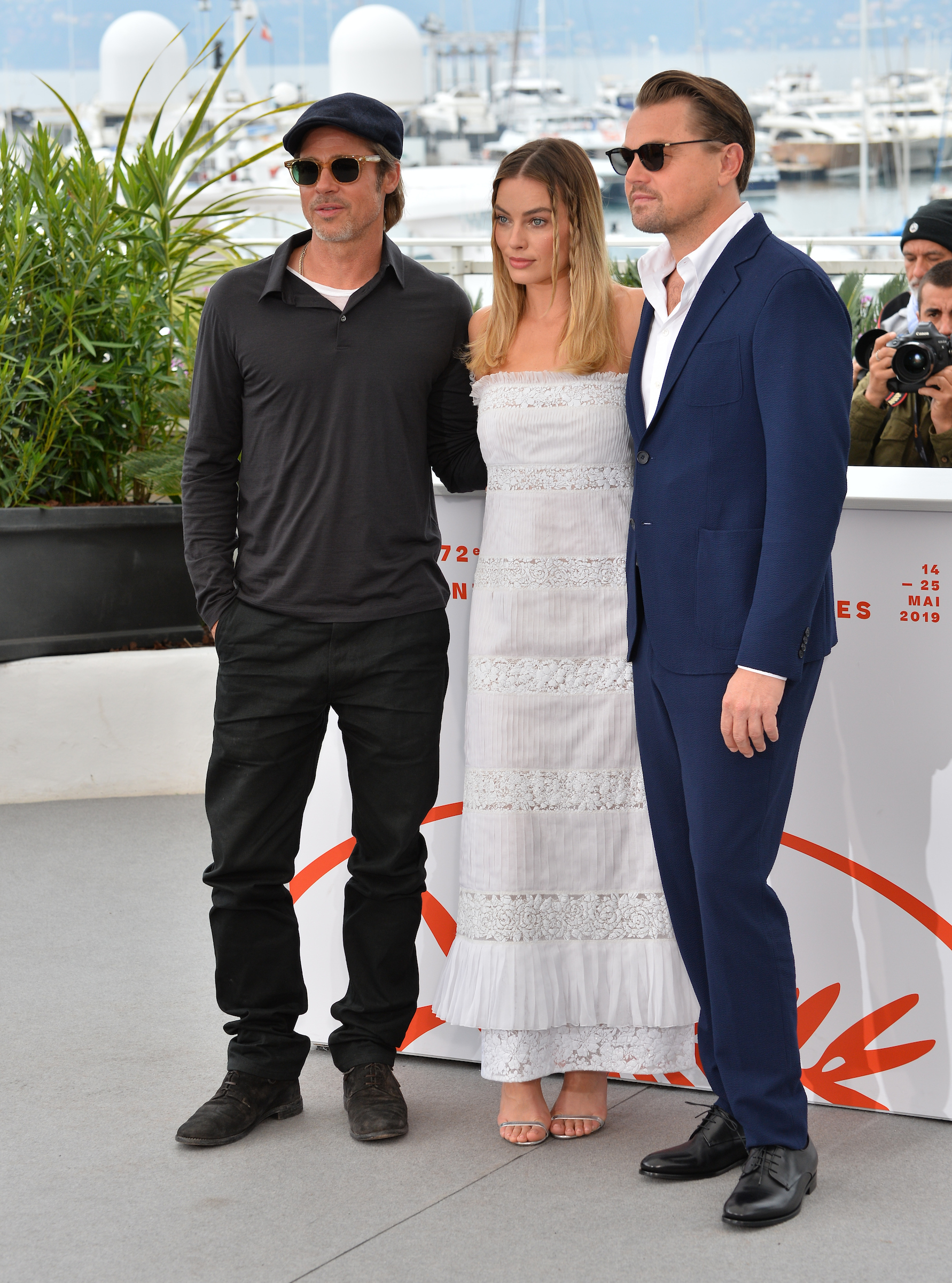 "CANNES, FRANCE. May 22, 2019: Brad Pitt, Margot Robbie & Leonardo DiCaprio at the photocall for ""Once Upon a Time in Hollywood"" at the 72nd Festival de Cannes. Picture: Paul Smith / Featureflash"