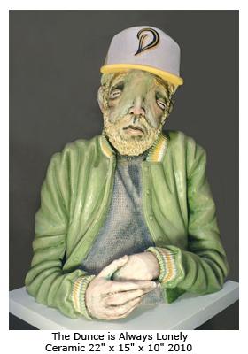 Derek Weisberg Ceramic Sculpture: The Dunce is Always Lonely